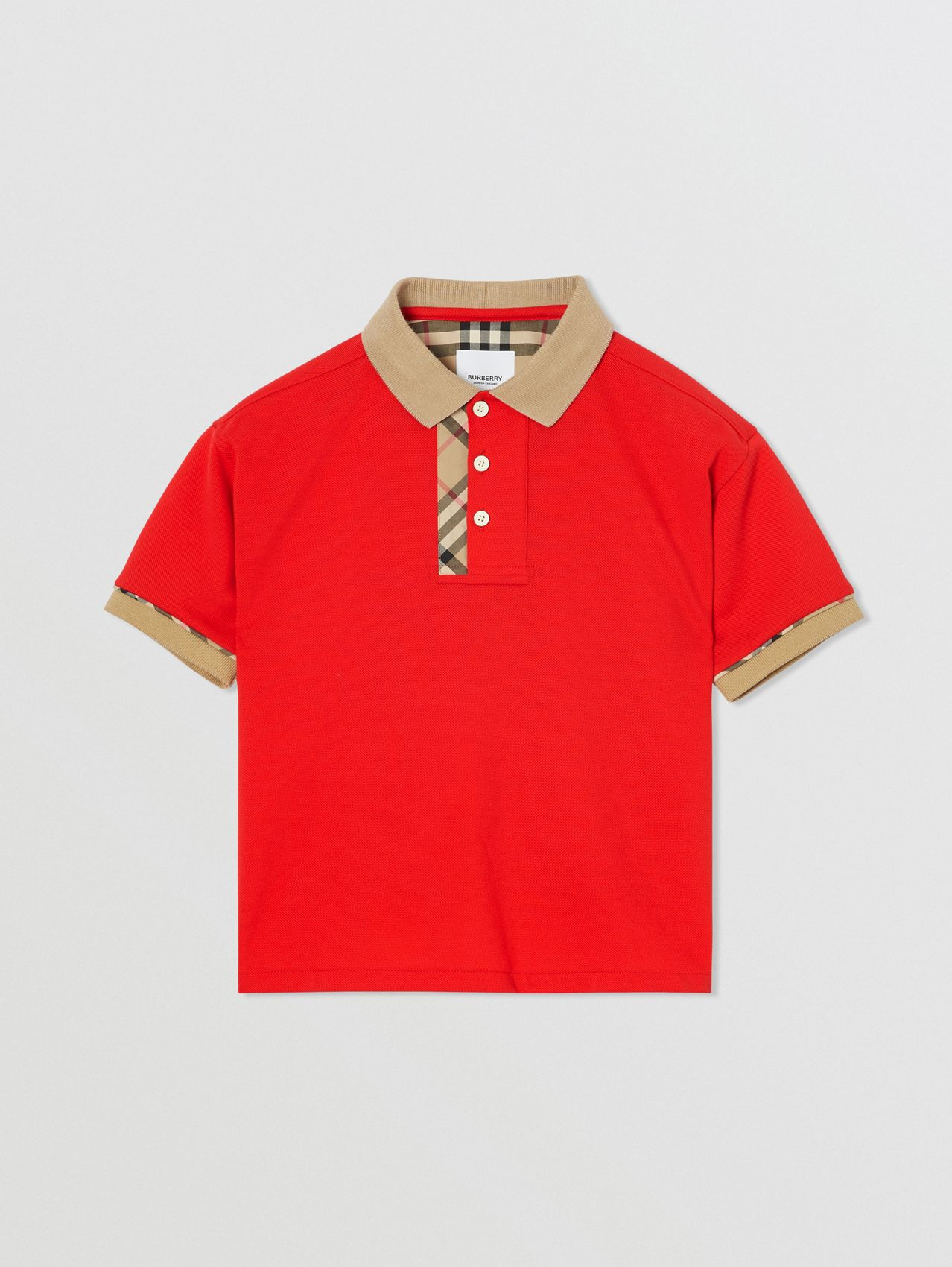 Vintage Check Trim Cotton Polo Shirt (Bright Red)