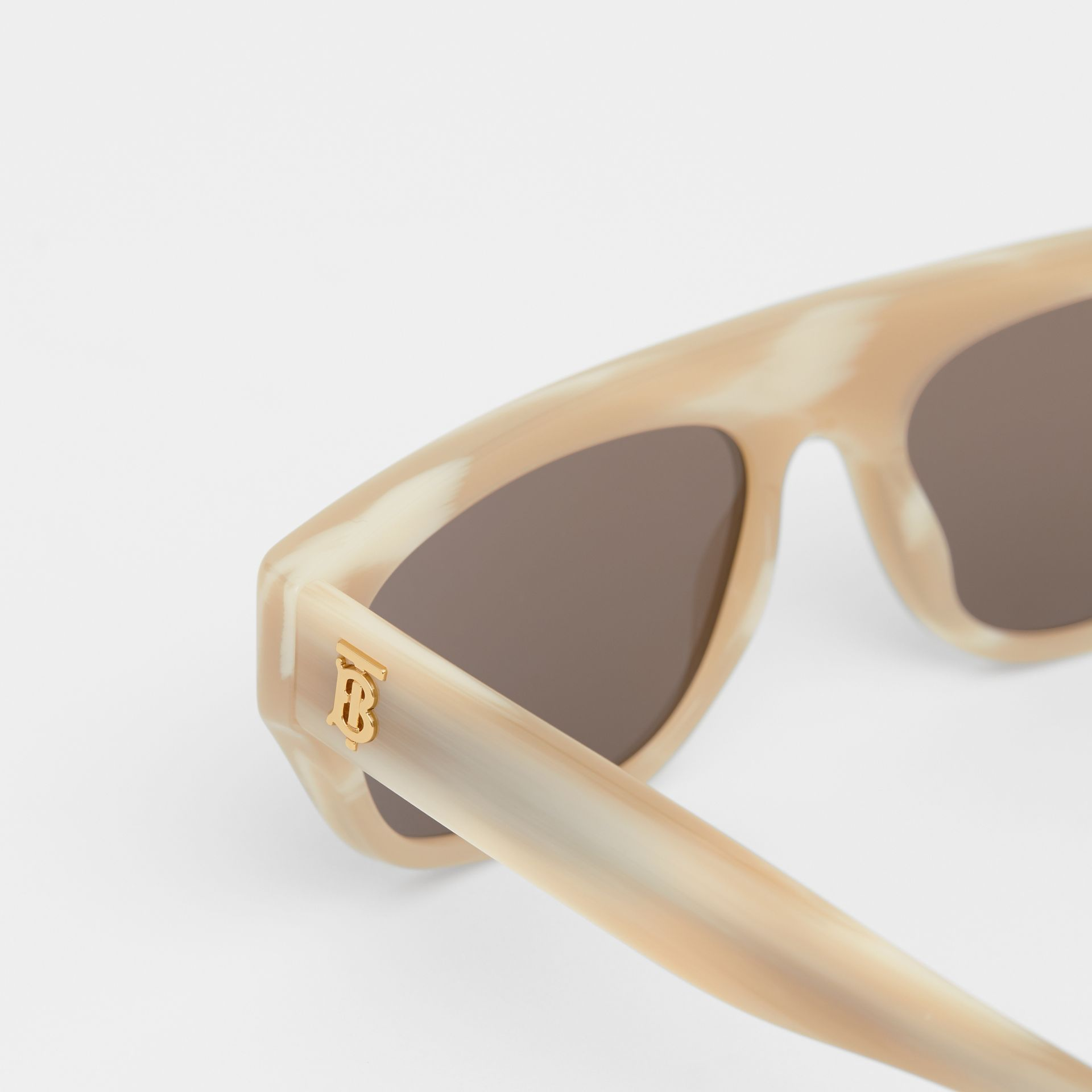 Monogram Motif Rectangular Frame Sunglasses in Light Horn | Burberry - gallery image 1