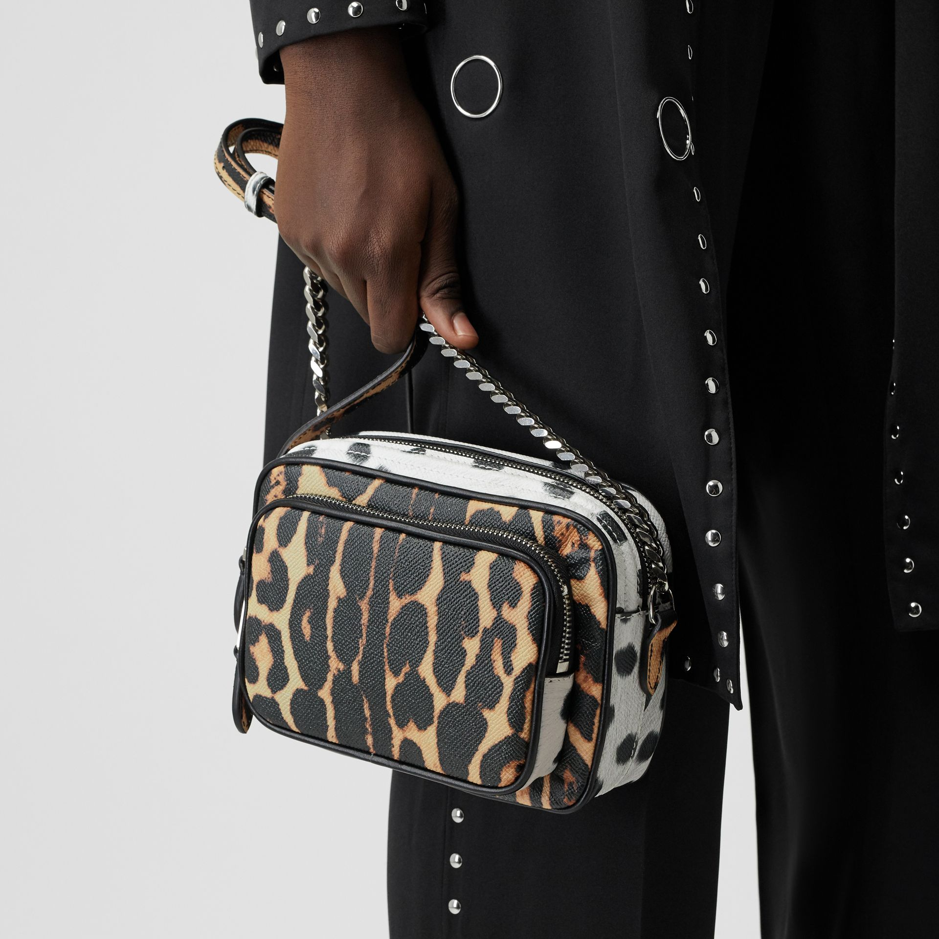 Animal Print Leather Camera Bag in Honey/black - Women | Burberry Australia - gallery image 2