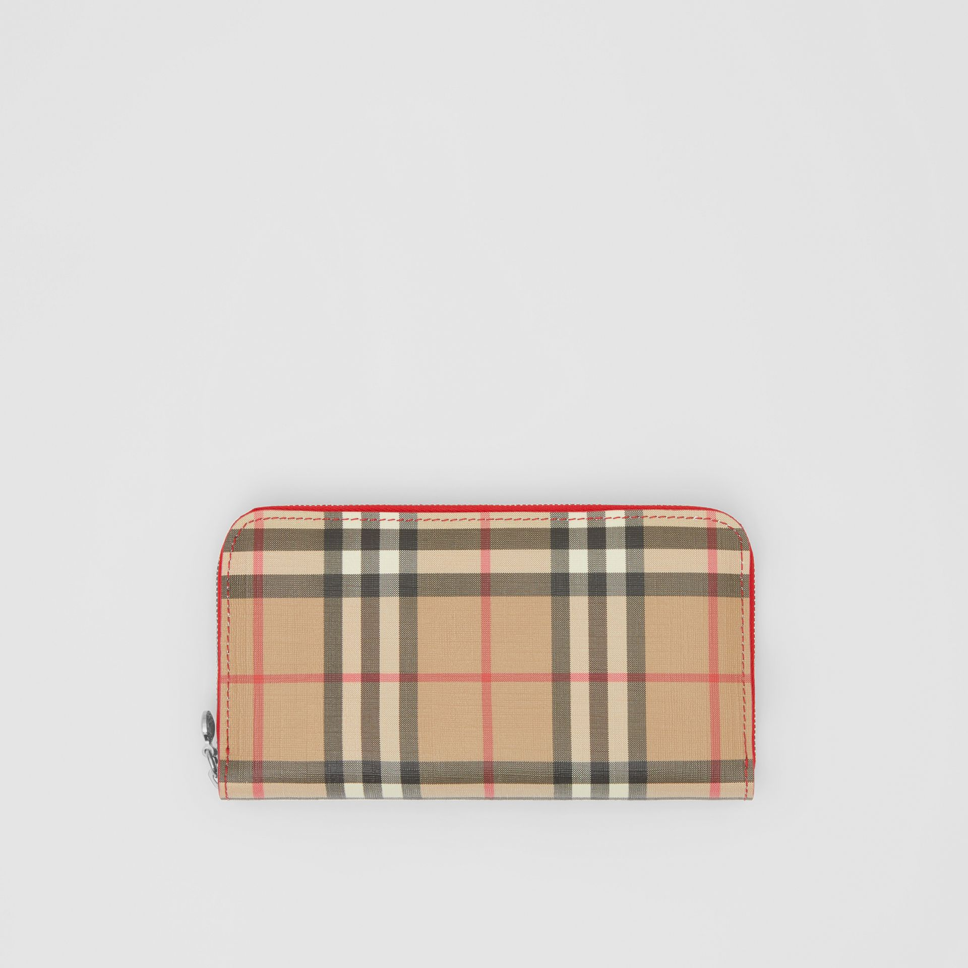 Vintage Check E-canvas and Leather Wallet in Bright Military Red - Women | Burberry Hong Kong S.A.R - gallery image 0