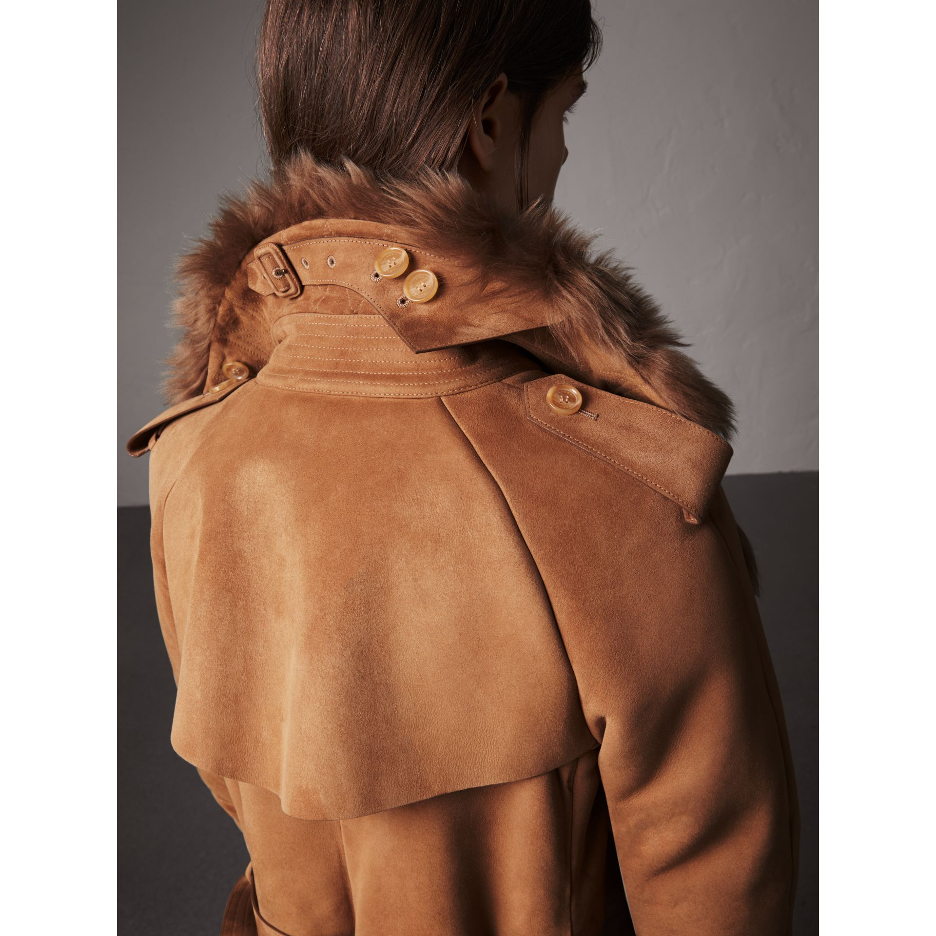 Shearling Long Trench Coat in Dark Camel - Women | Burberry - gallery image 5