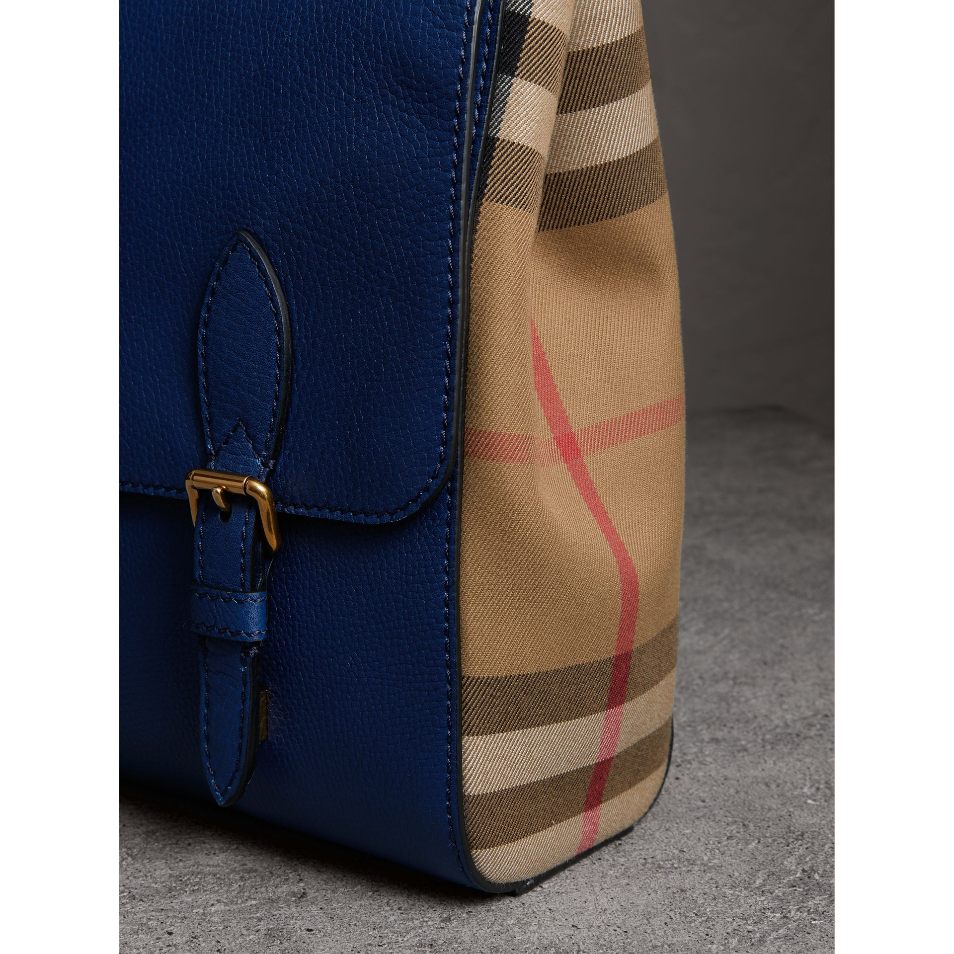 Leather and House Check Satchel in Deep Blue - Men | Burberry - gallery image 2