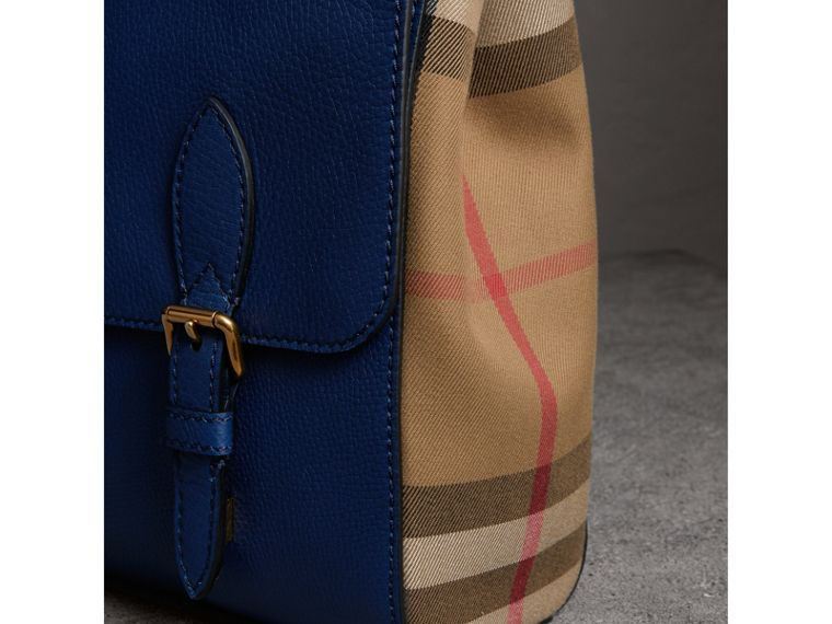 Leather and House Check Satchel in Deep Blue - Men | Burberry - cell image 1