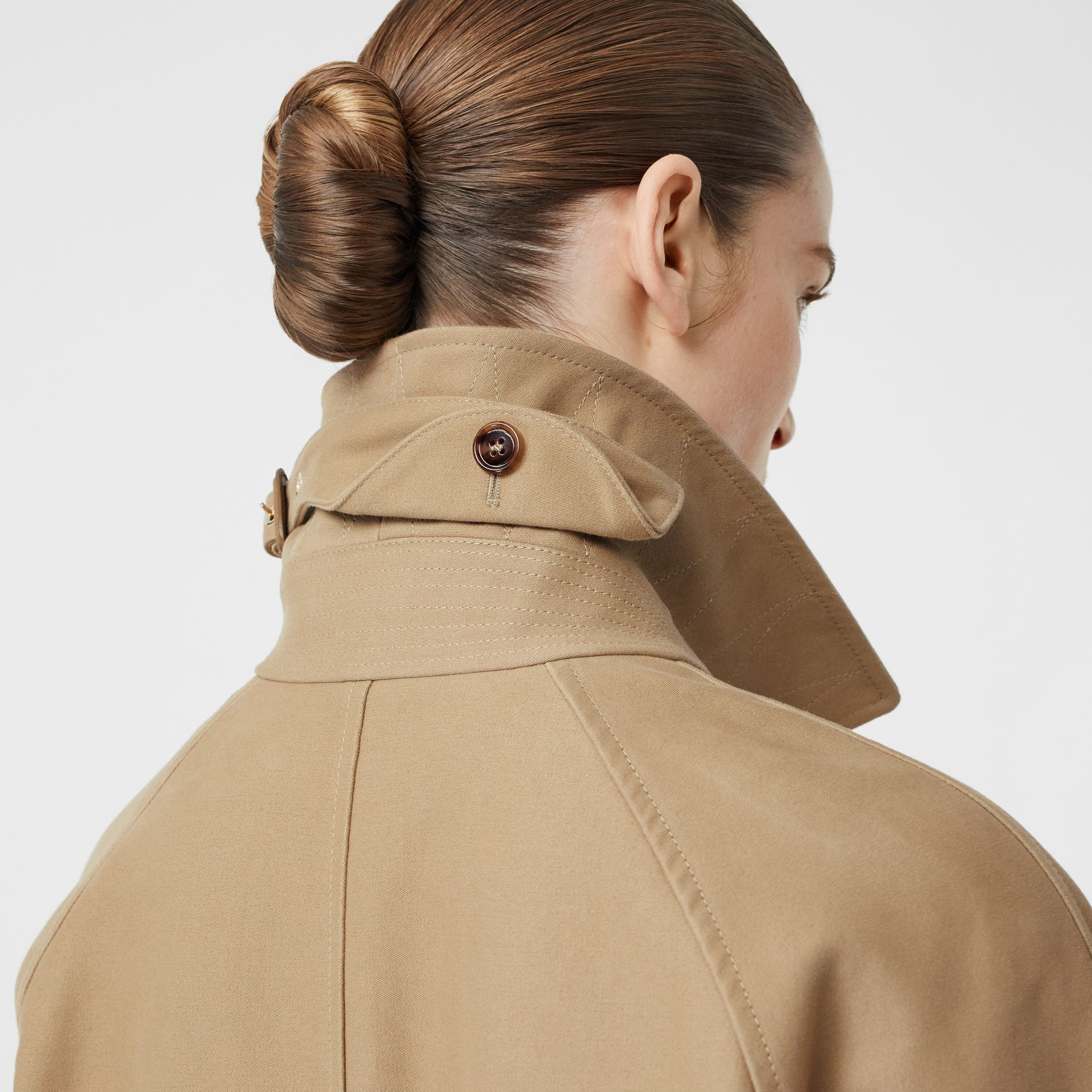 Scarf Detail Cotton Gabardine Car Coat in Honey - Women | Burberry - gallery image 3