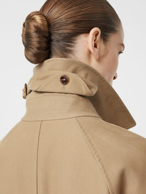 Scarf Detail Cotton Gabardine Car Coat in Honey - Women | Burberry - cell image 3
