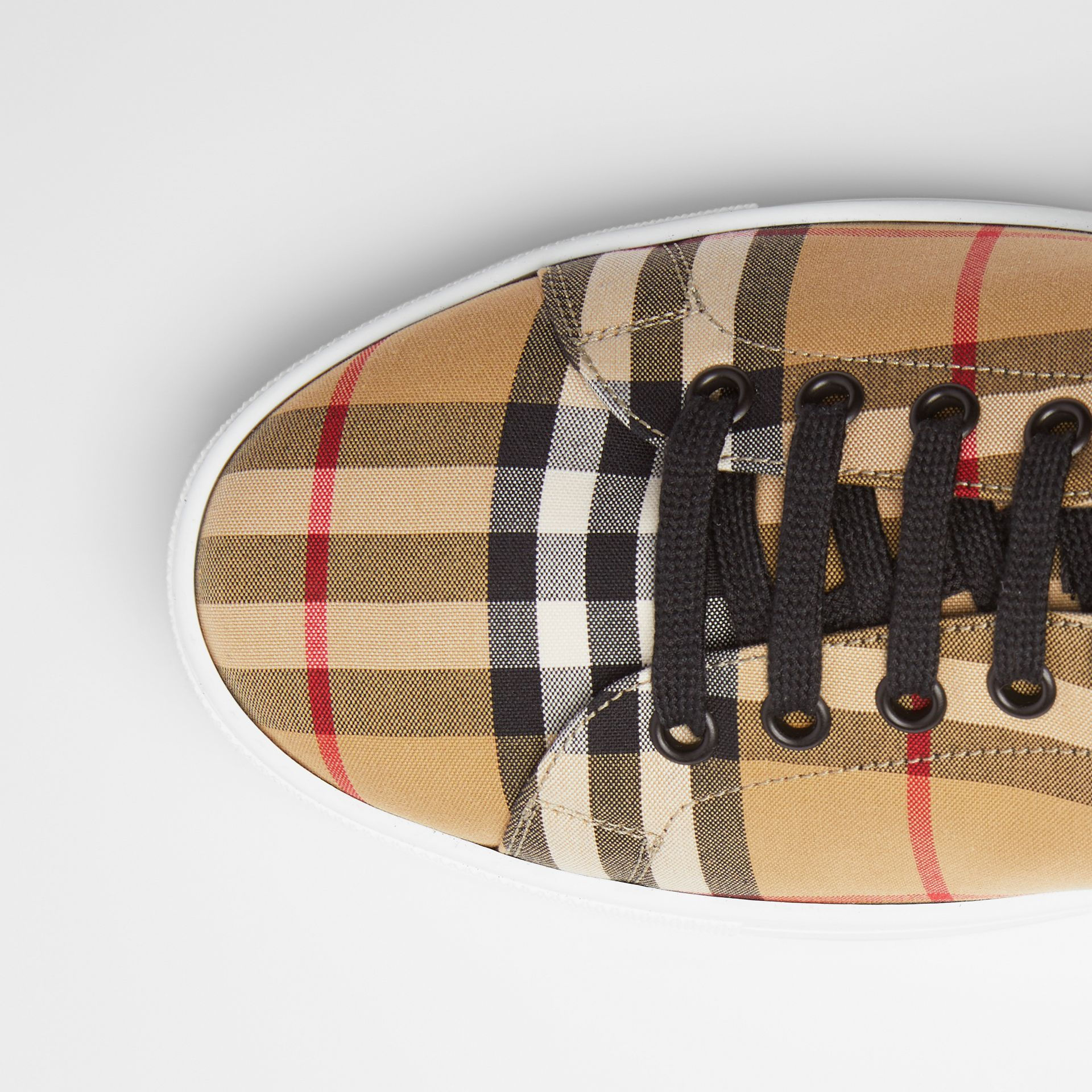 Vintage Check and Leather Sneakers in Antique Yellow - Men | Burberry Australia - gallery image 1