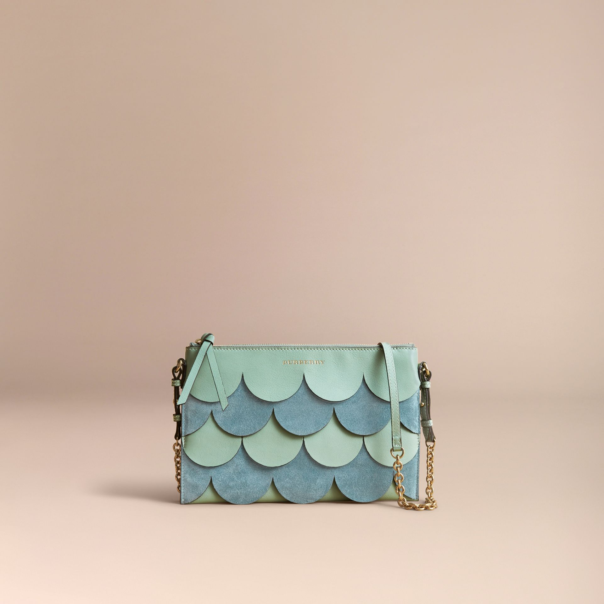 Two-tone Scalloped Leather and Suede Clutch Bag in Celadon Green - Women | Burberry Australia - gallery image 8