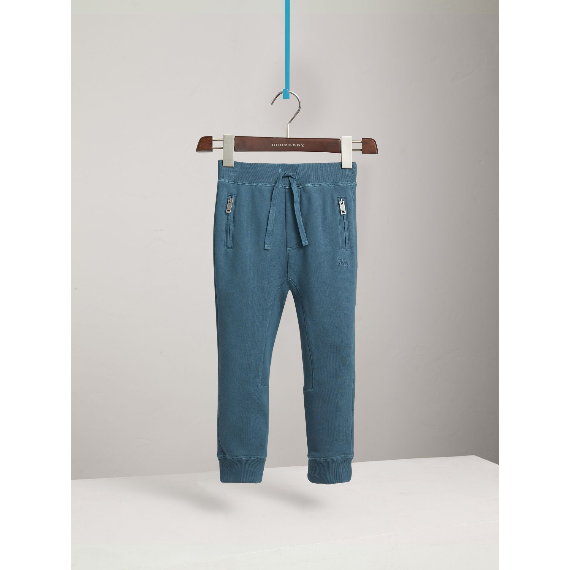 Drawcord Cotton Sweatpants in Pewter Blue | Burberry - gallery image 0