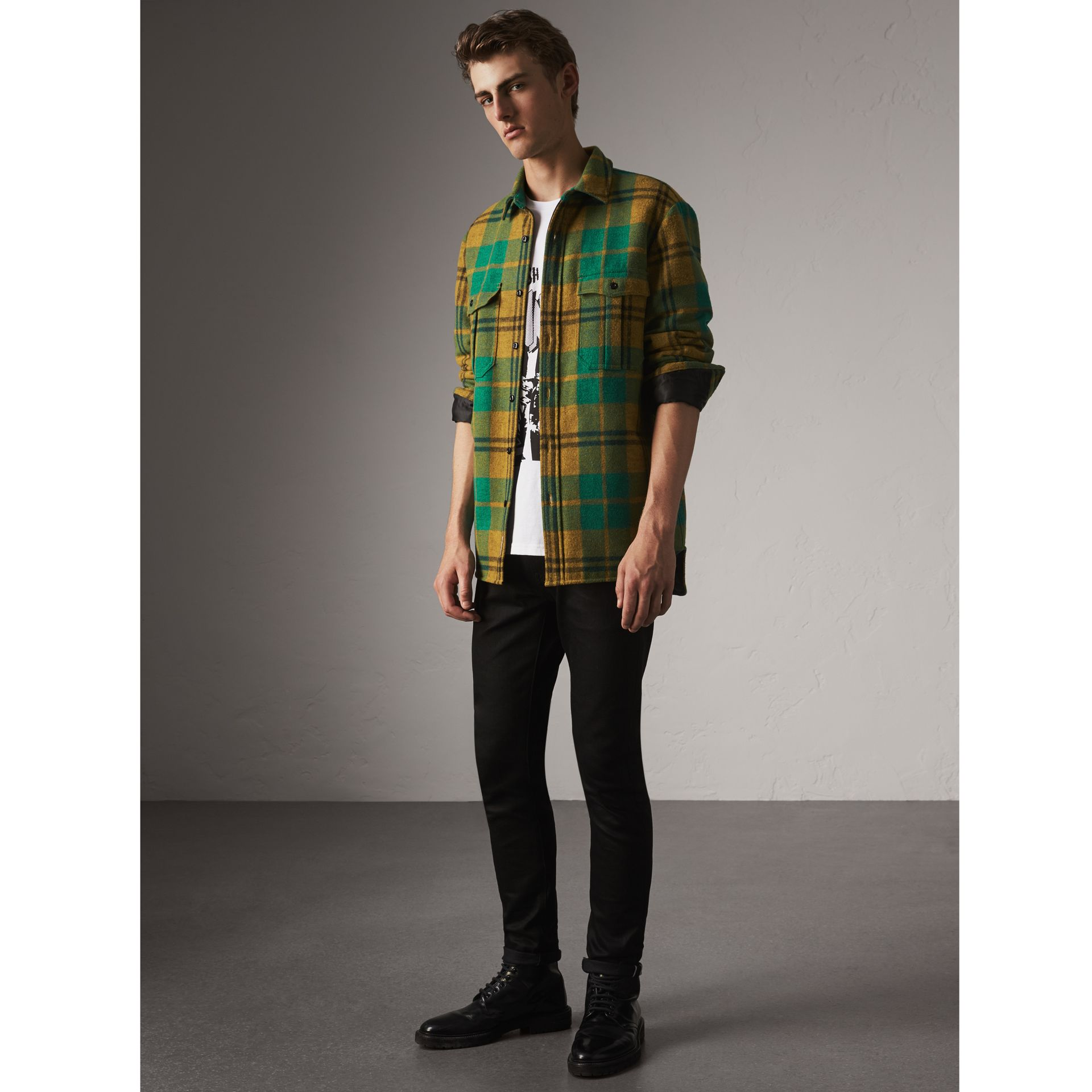 Quilt-lined Check Wool Cotton Blend Flannel Shirt in Amber Yellow - Men | Burberry Australia - gallery image 1