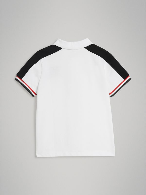 Stripe Detail Cotton Polo Shirt in White - Boy | Burberry - cell image 3