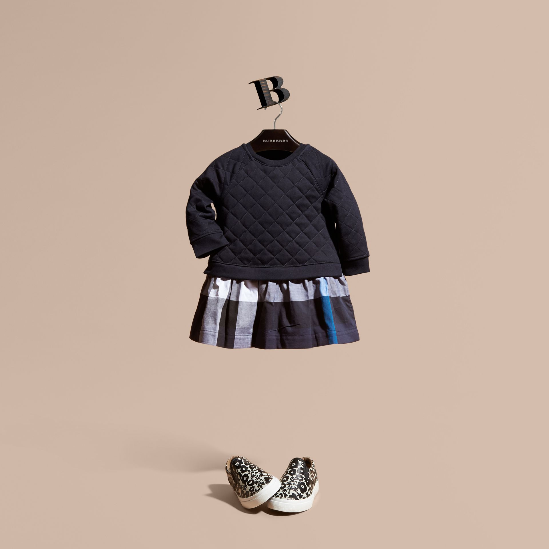Quilted Jersey and Check Cotton Day Dress in Navy | Burberry - gallery image 0