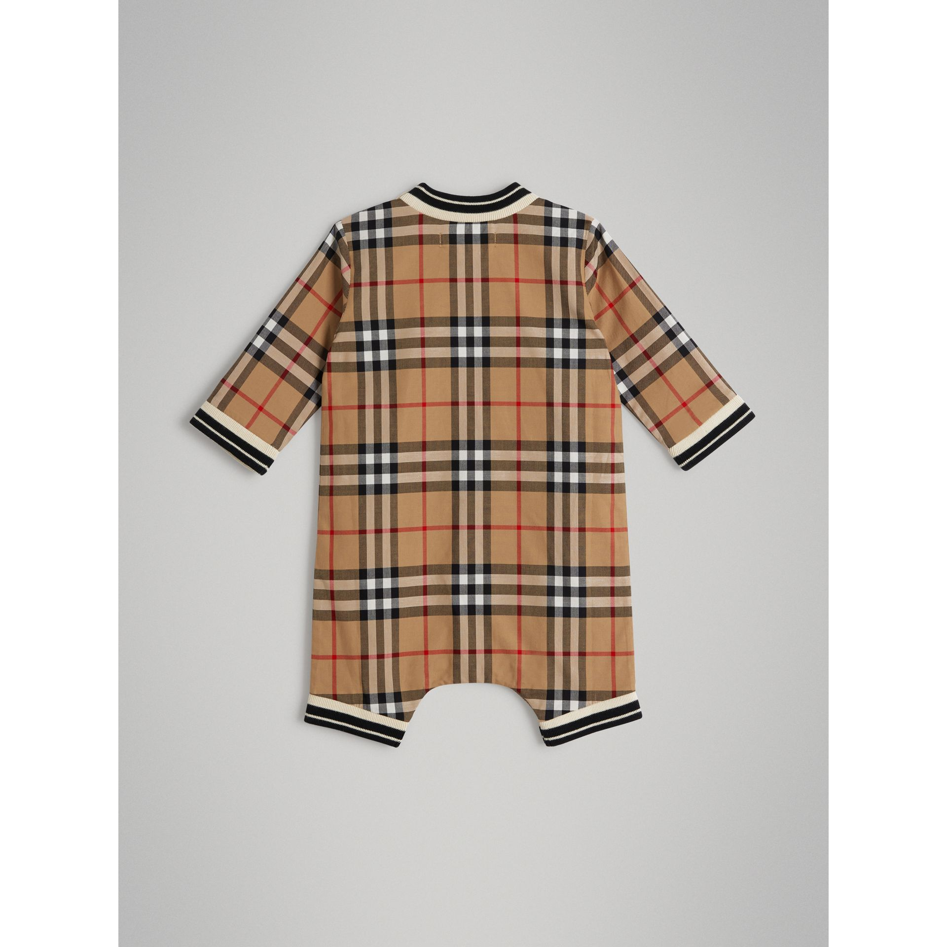 Vintage Check Cotton Poplin Jumpsuit in Antique Yellow - Children | Burberry Australia - gallery image 3