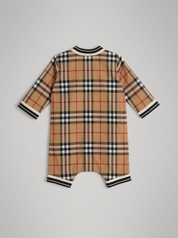 Vintage Check Cotton Poplin Jumpsuit in Antique Yellow - Children | Burberry Australia - cell image 3