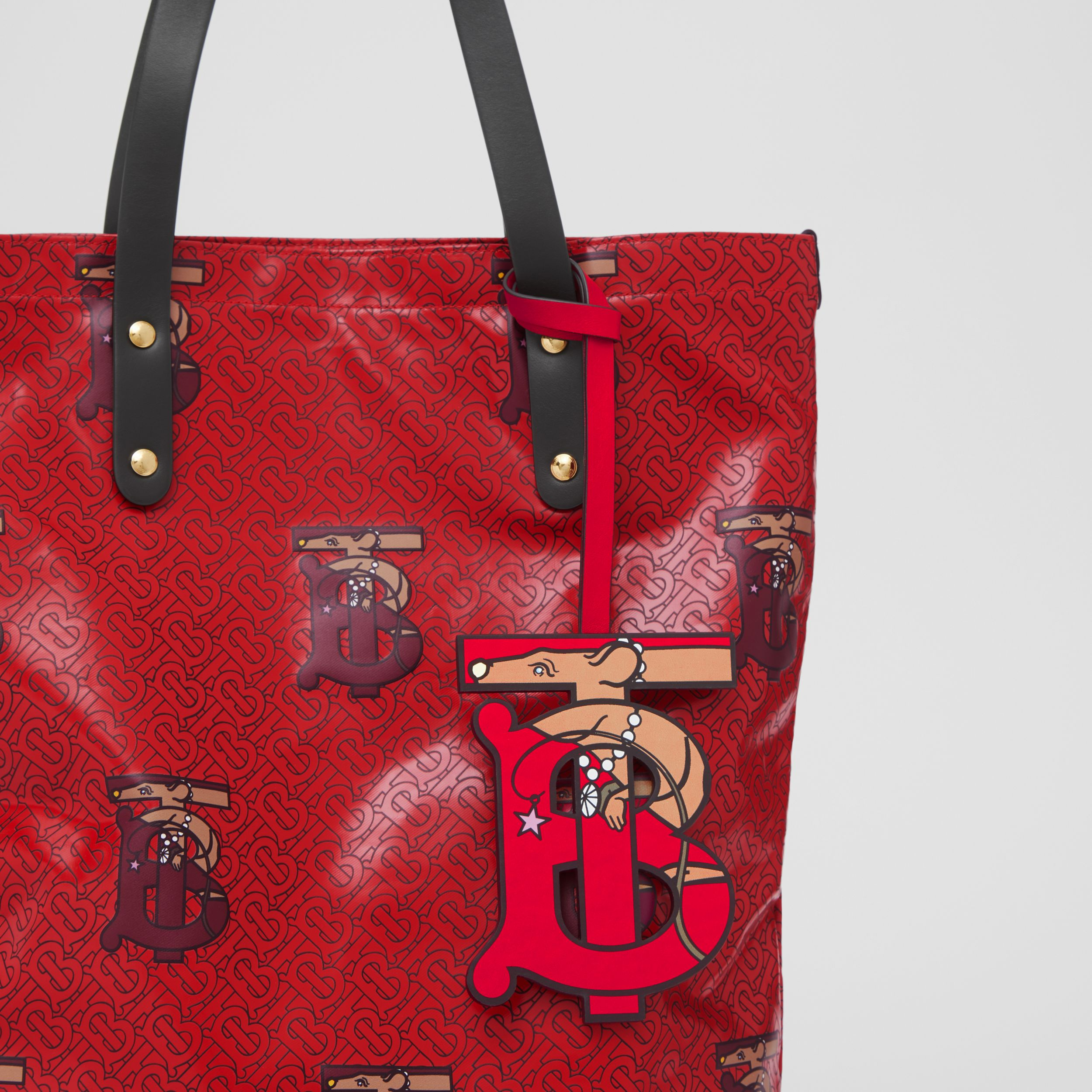 Monogram Motif Leather Charm in Red | Burberry - 4
