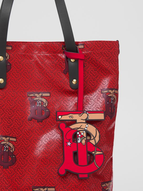 Monogram Motif Leather Charm in Red | Burberry - cell image 3
