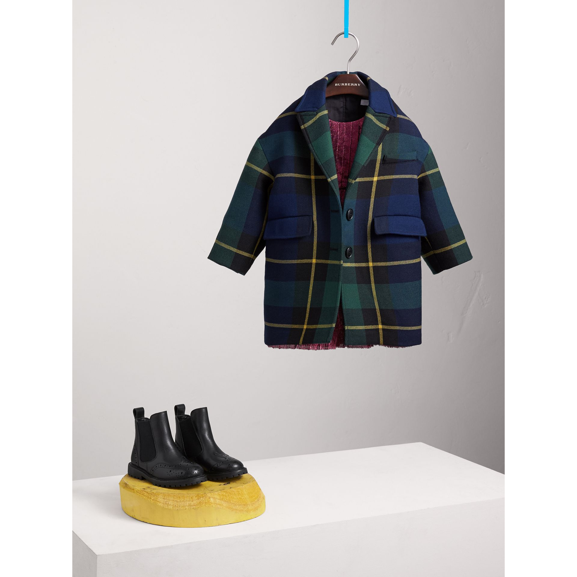 Tartan Wool Coat in Pine Green - Girl | Burberry Hong Kong - gallery image 0