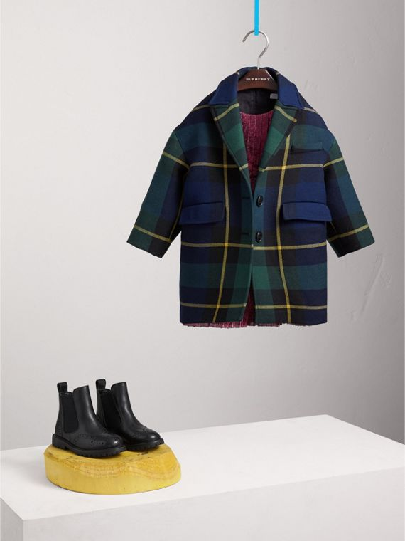 Tartan Wool Coat in Pine Green