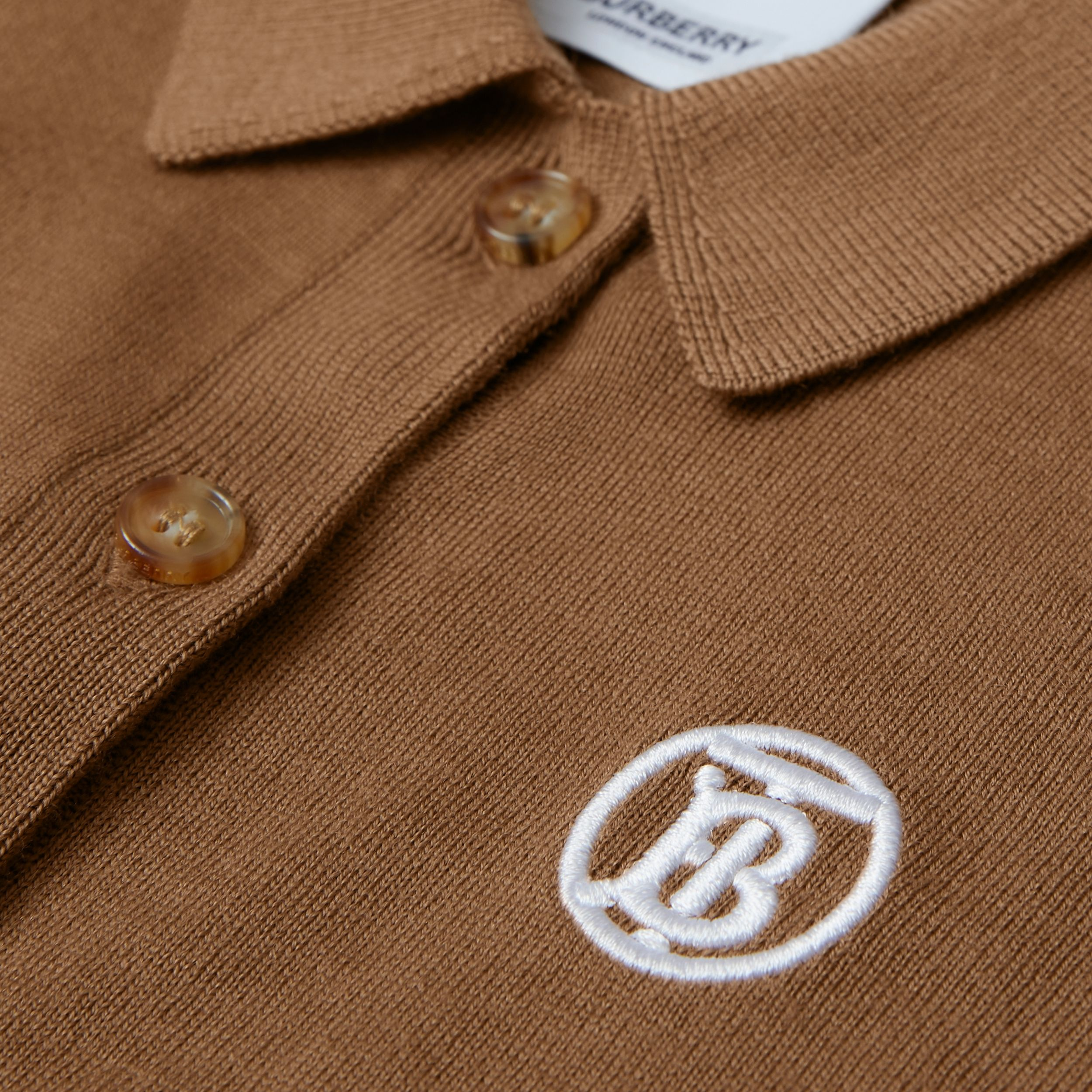 Monogram Motif Merino Wool Cardigan in Oak Brown - Children | Burberry Australia - 2