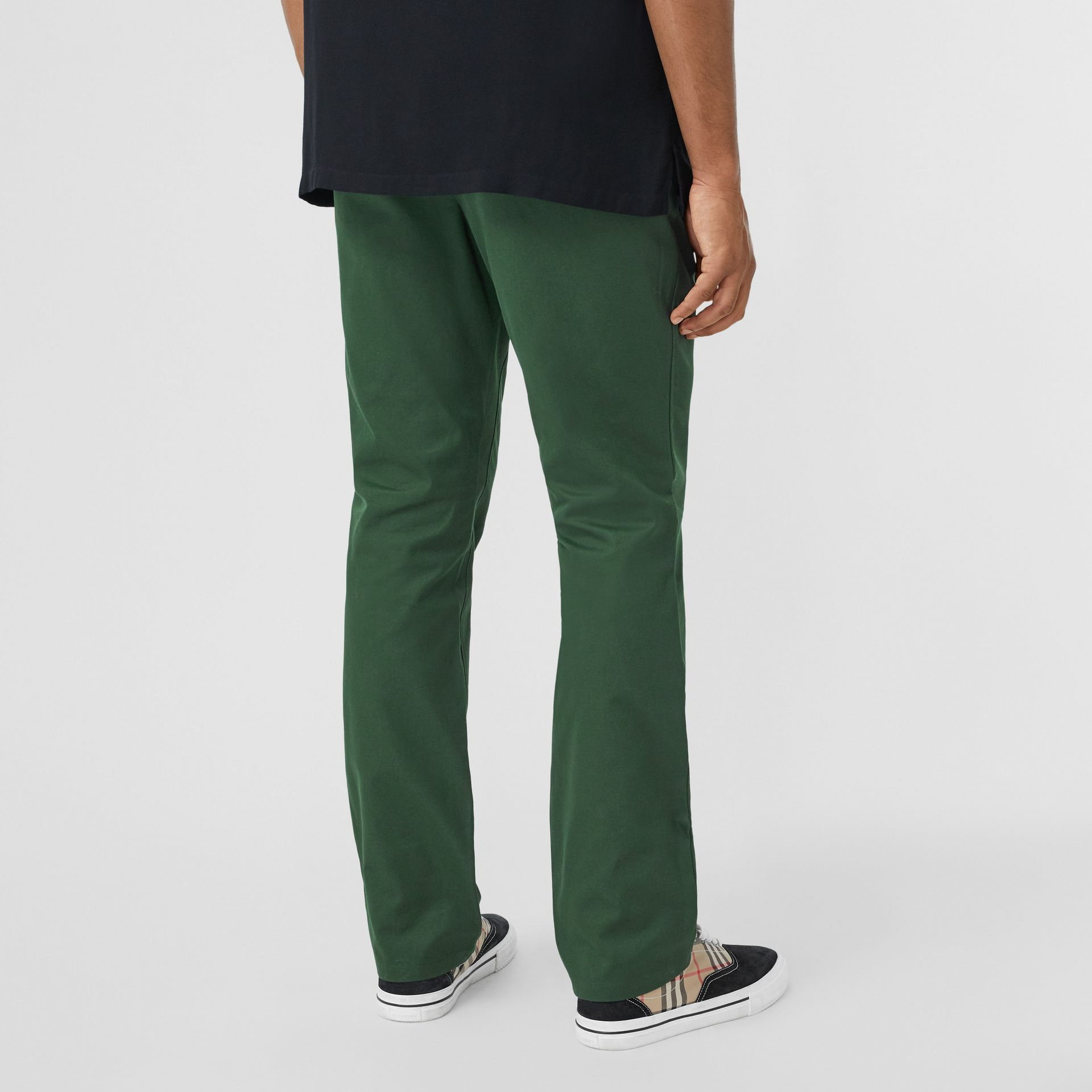 Classic Fit Cotton Chinos in Dark Pine Green - Men | Burberry - gallery image 2