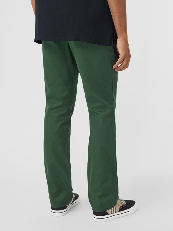 Classic Fit Cotton Chinos in Dark Pine Green - Men | Burberry - cell image 2