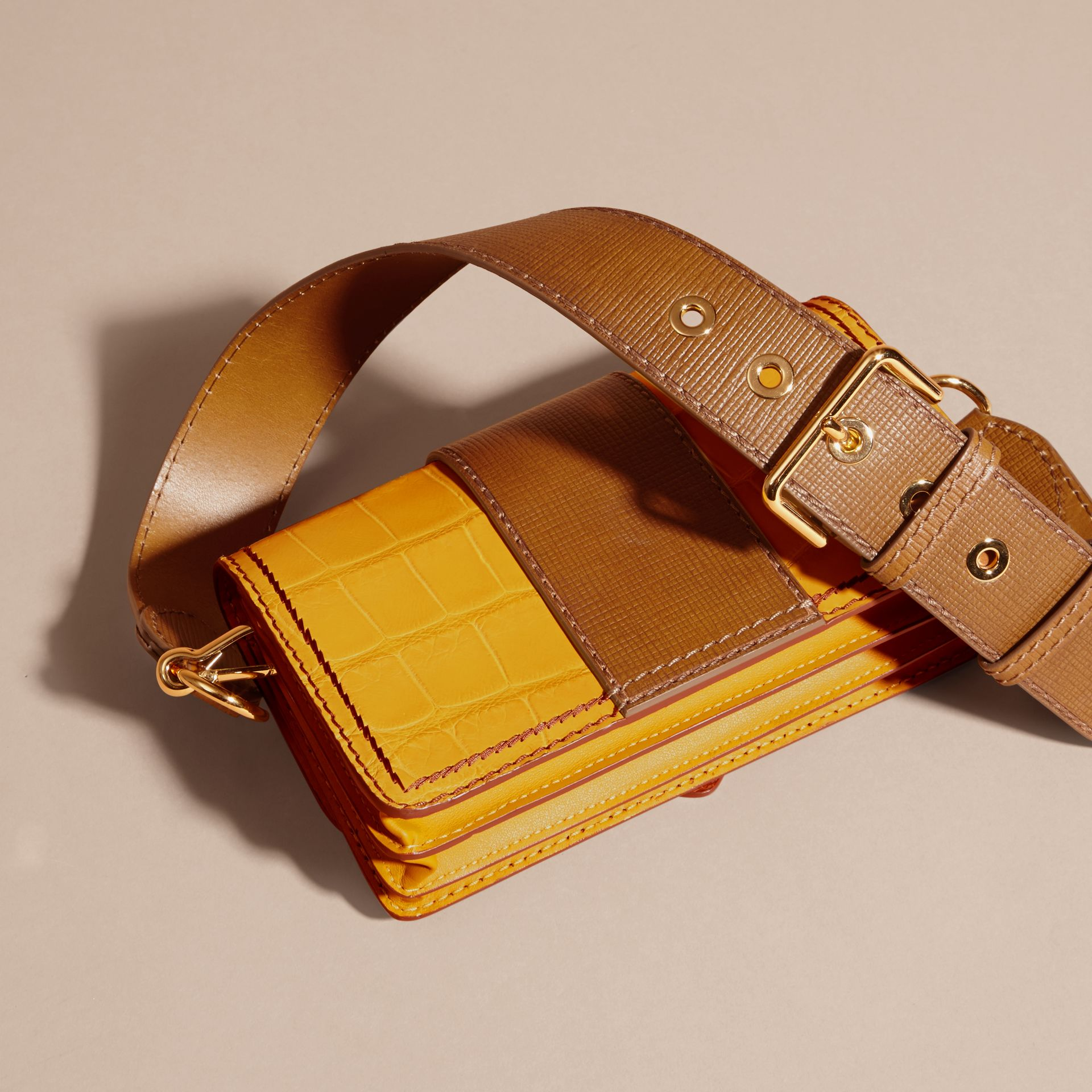 The Small Buckle Bag in Alligator and Leather Citrus Yellow / Tan - gallery image 5