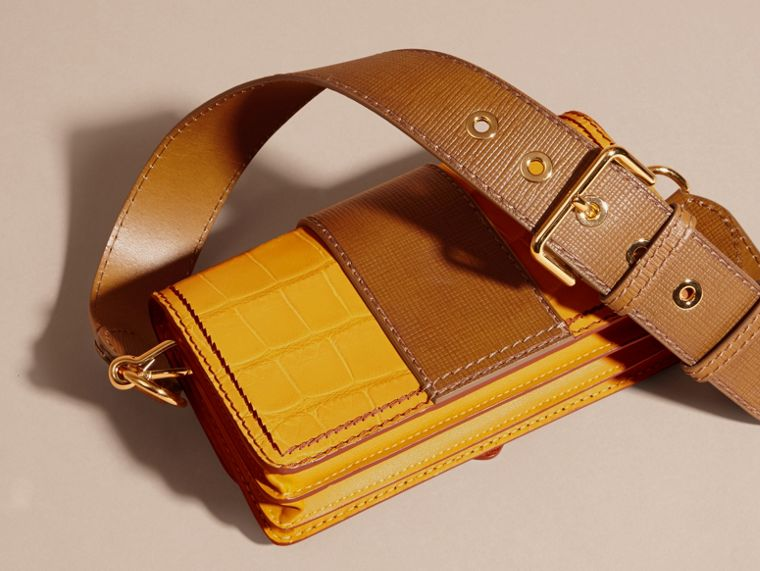 The Small Buckle Bag in Alligator and Leather Citrus Yellow / Tan - cell image 4