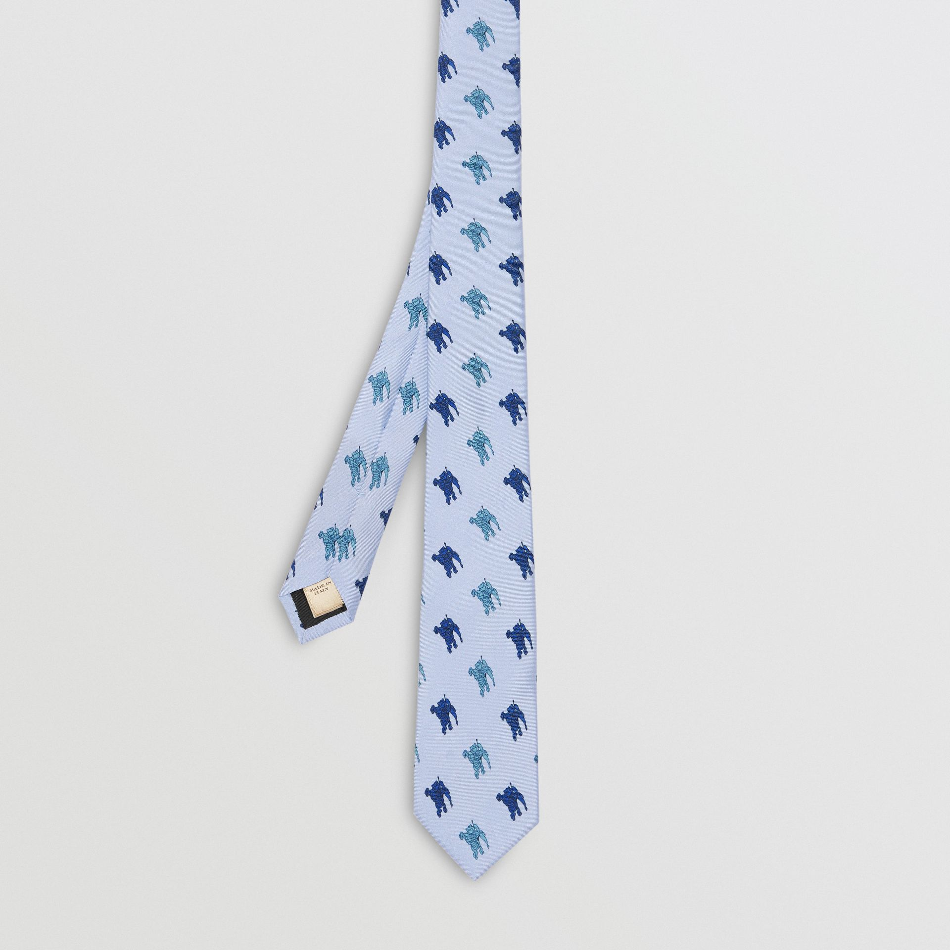 Slim Cut Equestrian Knight Print Silk Tie in Light Blue - Men | Burberry - gallery image 3