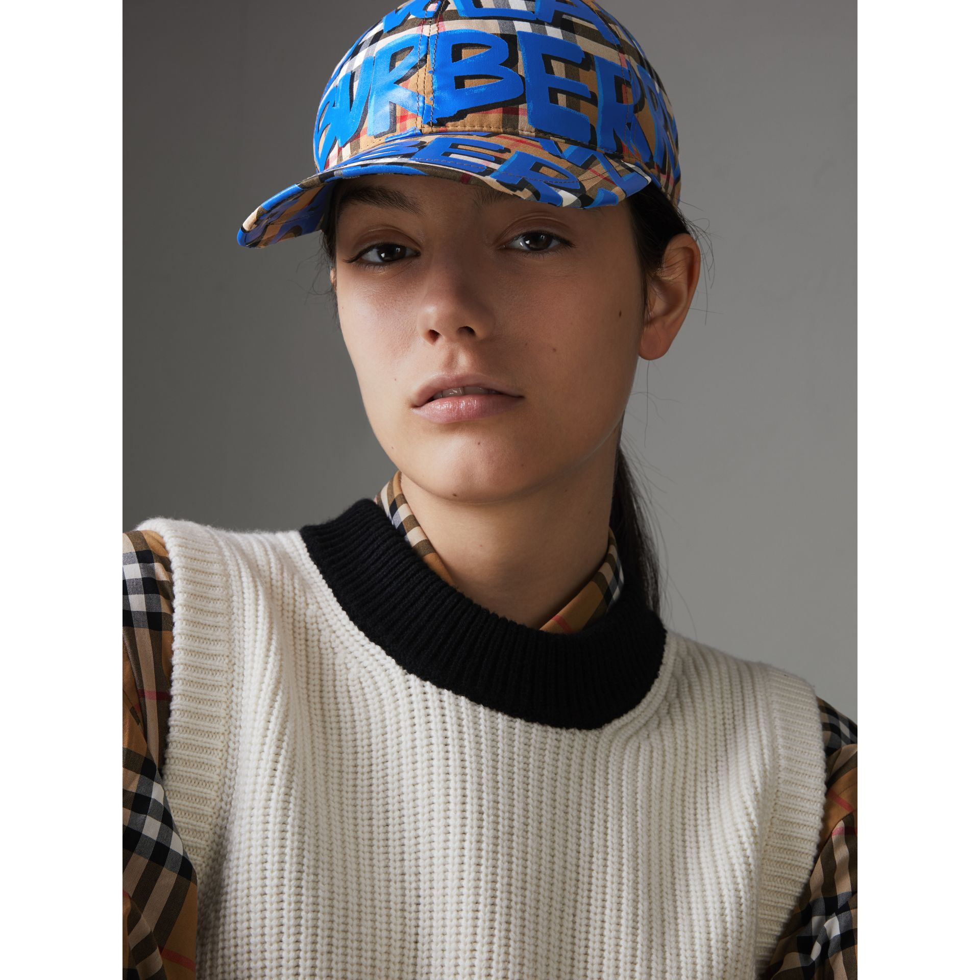 Graffiti Print Vintage Check Baseball Cap in Blue | Burberry - gallery image 2