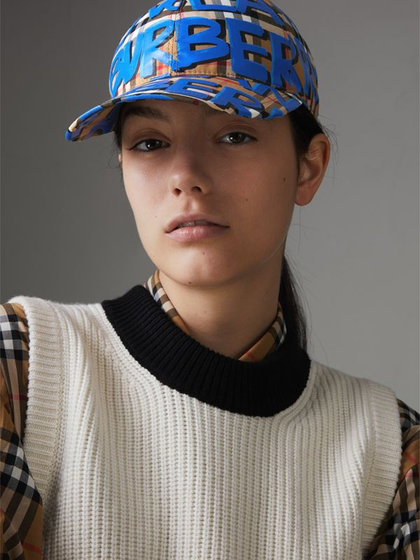 Graffiti Print Vintage Check Baseball Cap in Blue | Burberry - cell image 2