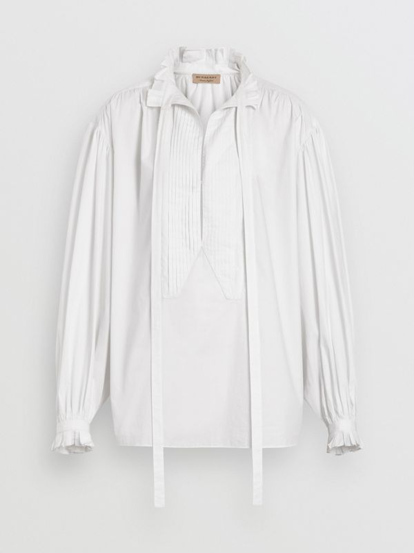 Puff-sleeve Cotton Tie-neck Blouse in White - Women | Burberry - cell image 3
