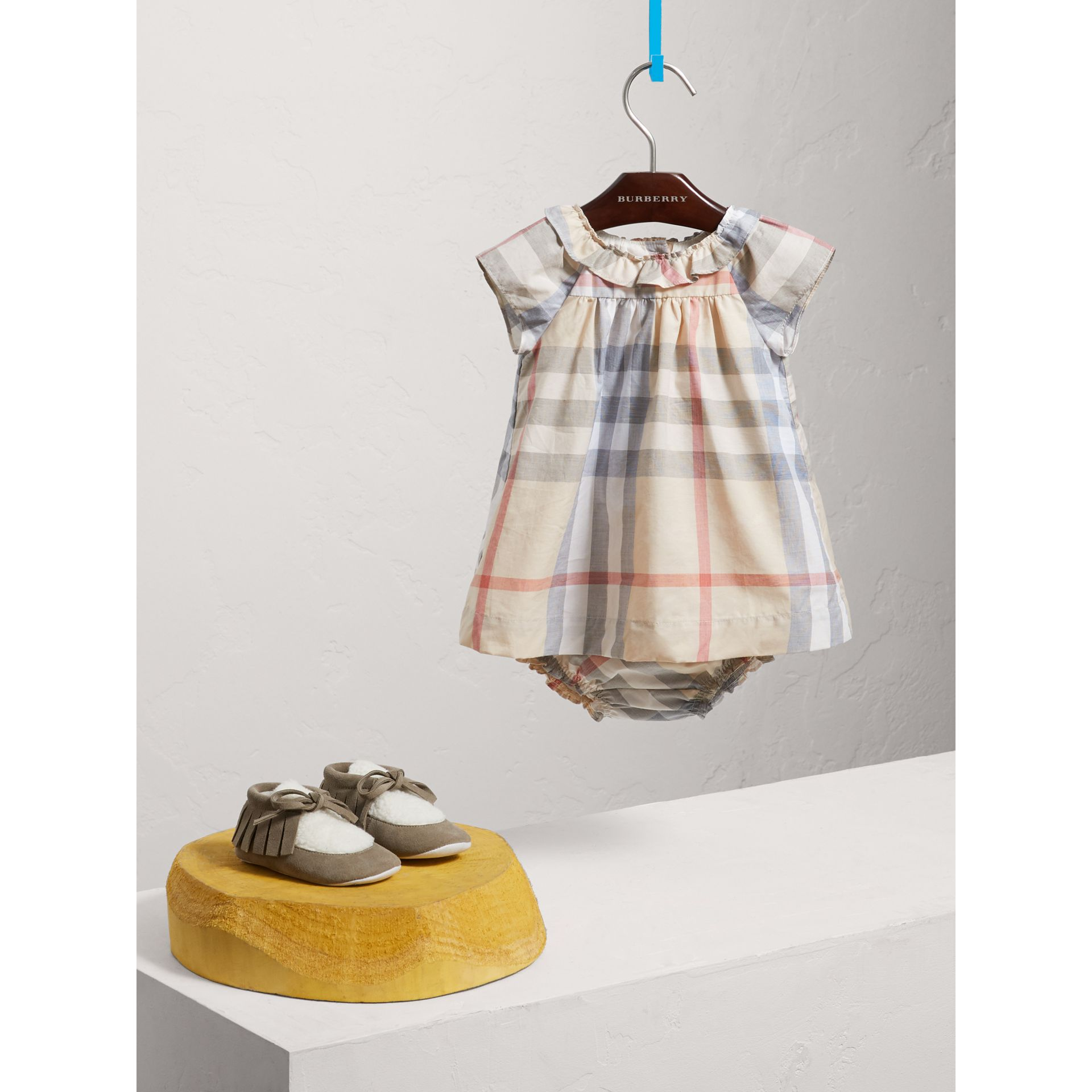Check Cotton Poplin Dress with Bloomers in Pale Stone | Burberry United States - gallery image 2