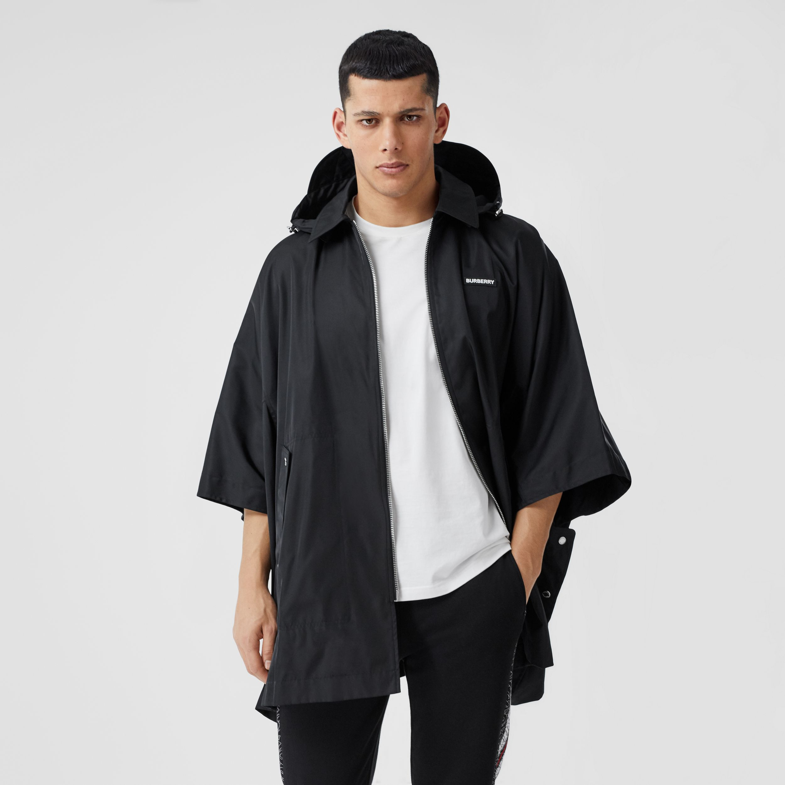 Detachable Hood Logo Appliqué ECONYL® Cape in Black | Burberry United States - 4