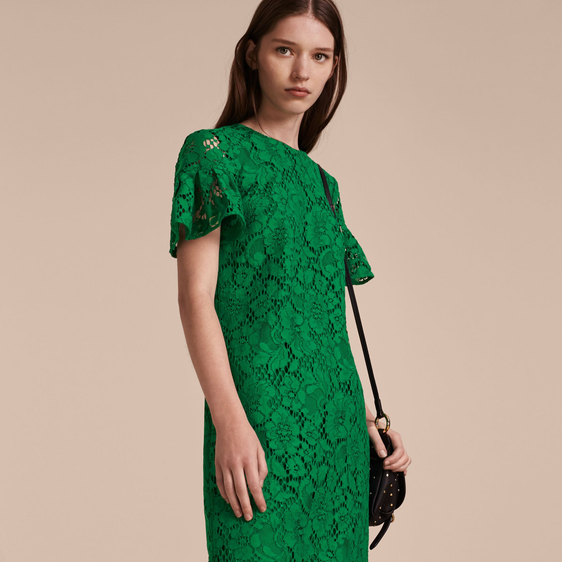 Macramé Lace Shift Dress with Ruffle Sleeves Kelly Green - gallery image 6