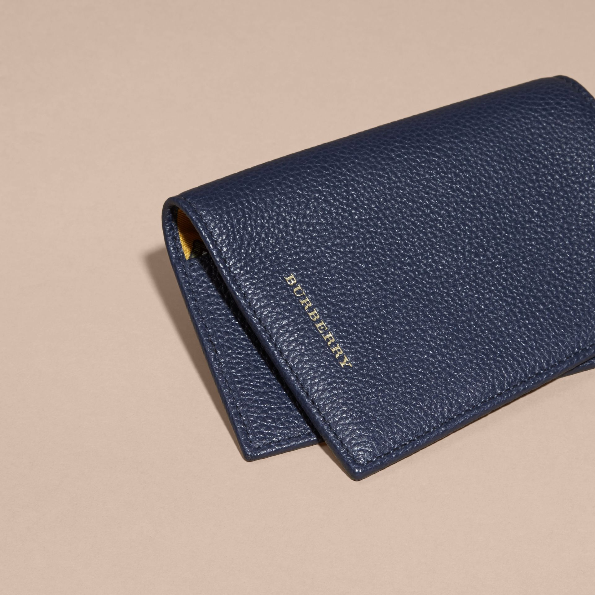 Bright navy Grainy Leather Passport and Card Holder Bright Navy - gallery image 3