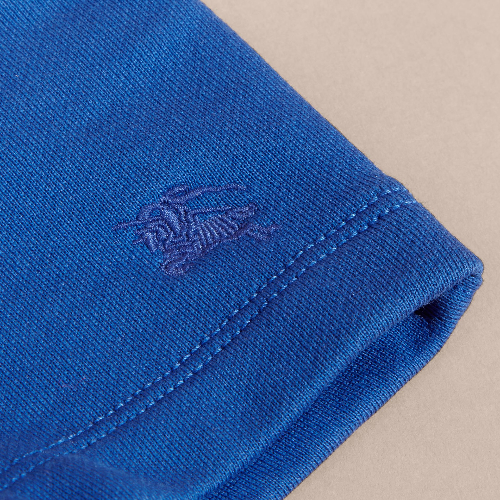 Cotton Jersey Drawcord Shorts in Brilliant Blue | Burberry - gallery image 2
