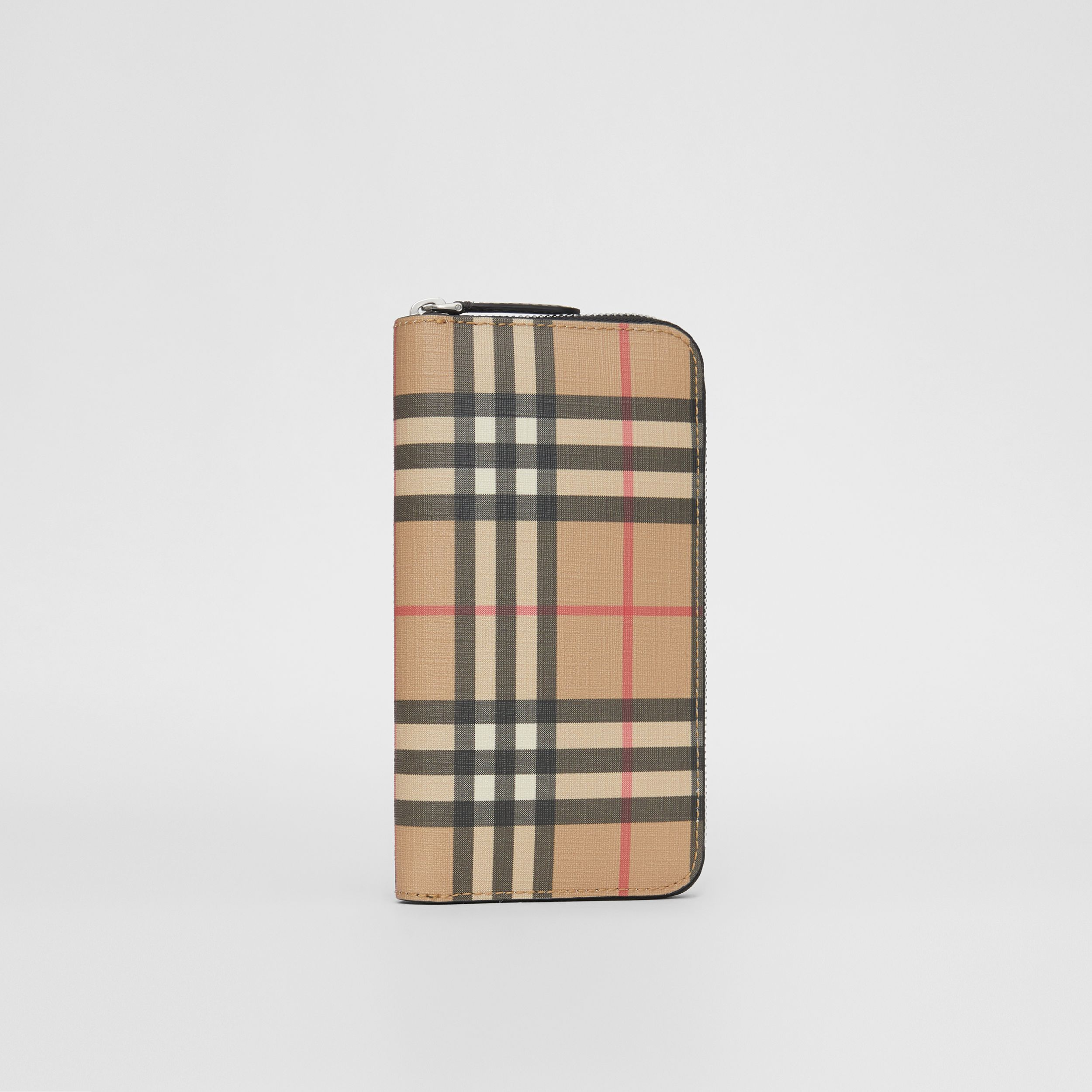 Vintage Check E-canvas Ziparound Wallet in Archive Beige - Men | Burberry - 4