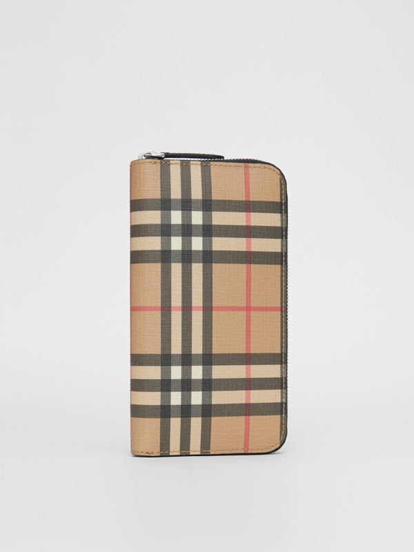 Vintage Check E-canvas Ziparound Wallet in Archive Beige - Men | Burberry Australia - cell image 3