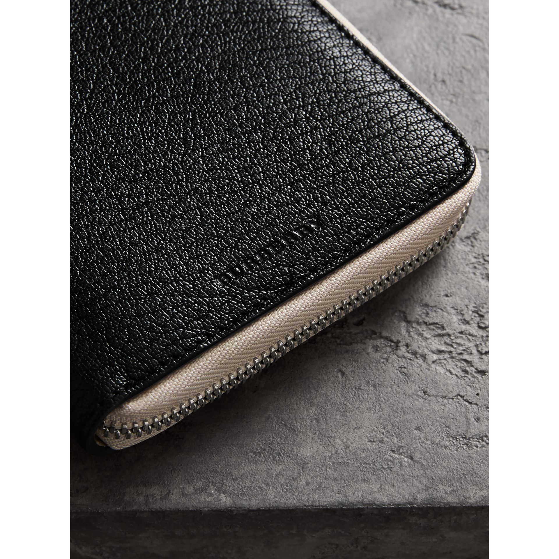 Two-tone Leather Ziparound Wallet in Black - Men | Burberry - gallery image 1