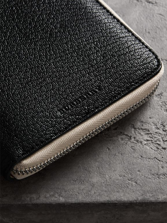 Two-tone Leather Ziparound Wallet in Black - Men | Burberry United Kingdom - cell image 1