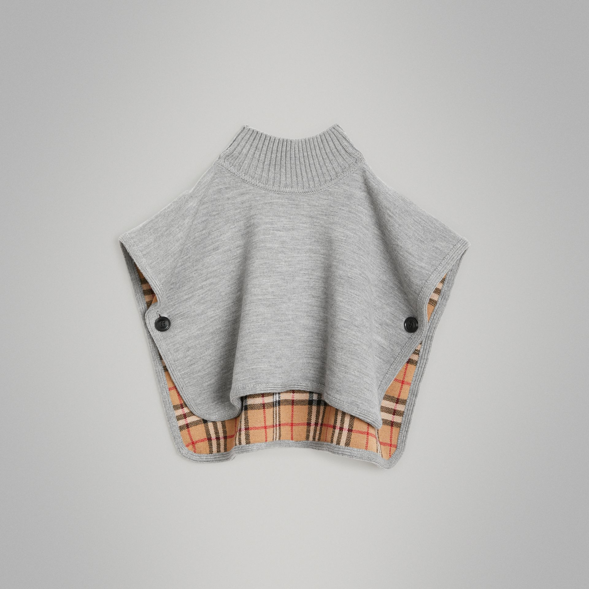 Reversible Check Merino Wool Jacquard Poncho in Grey Melange - Children | Burberry Hong Kong - gallery image 0