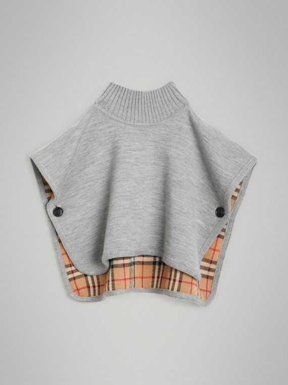 Reversible Check Merino Wool Jacquard Poncho in Grey Melange