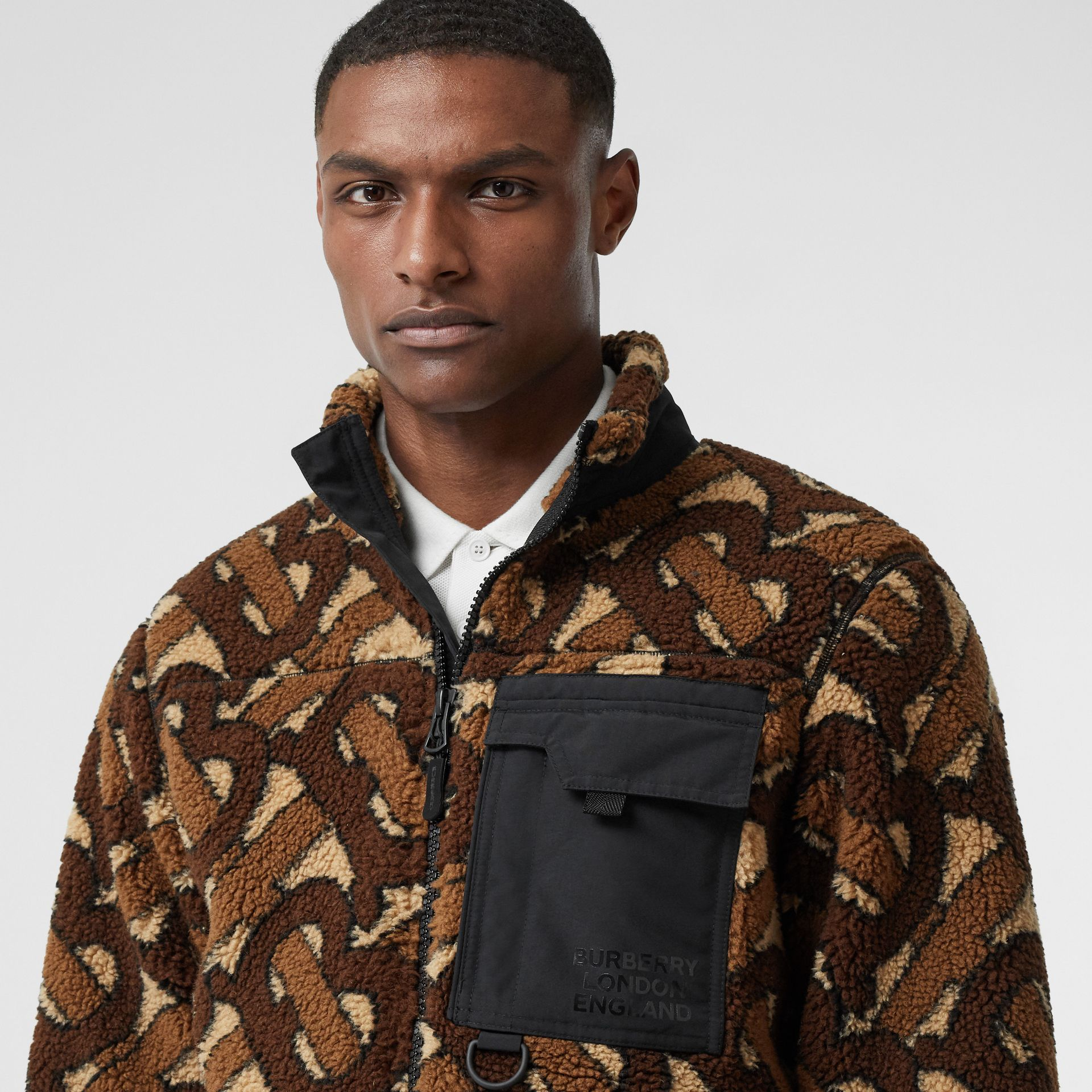 Monogram Fleece Jacquard Jacket in Bridle Brown - Men | Burberry - gallery image 1