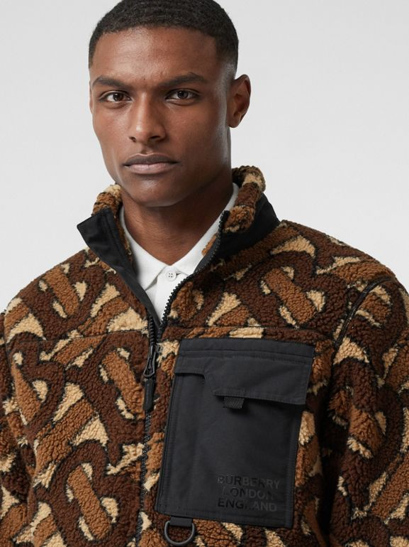 Monogram Fleece Jacquard Jacket in Bridle Brown - Men | Burberry - cell image 1