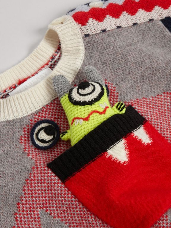 Monster Cashmere Jacquard Sweater in Bright Red - Children | Burberry - cell image 1