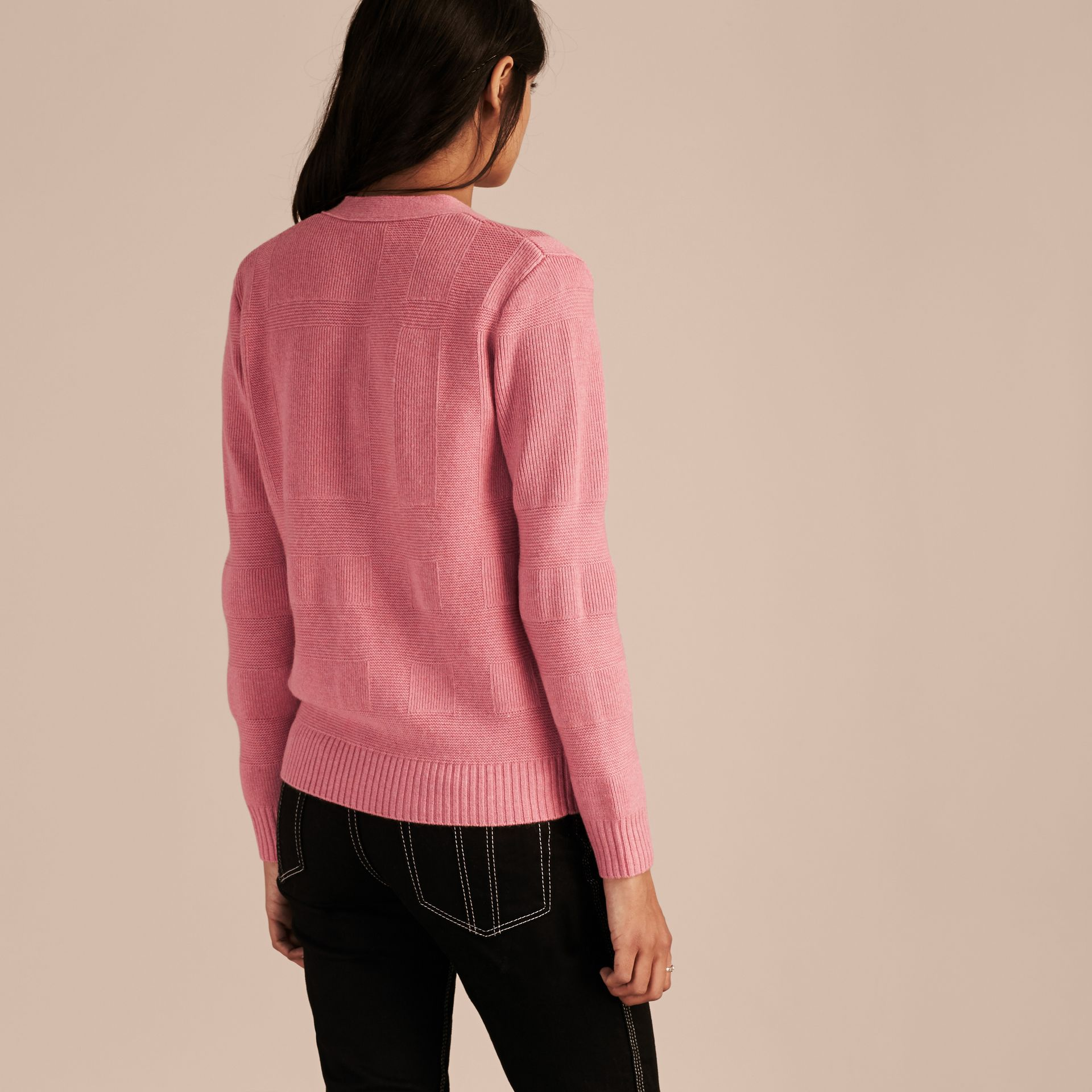 Check-knit Wool Cashmere Cardigan in Hydrangea Pink Melange - gallery image 3