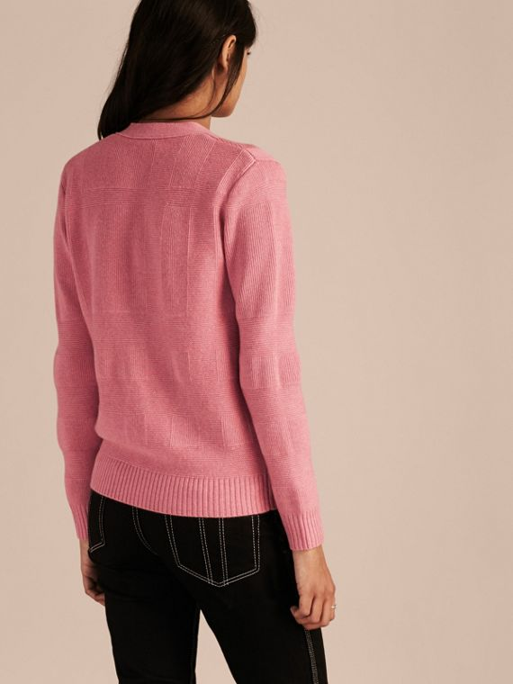 Check-knit Wool Cashmere Cardigan in Hydrangea Pink Melange - cell image 2