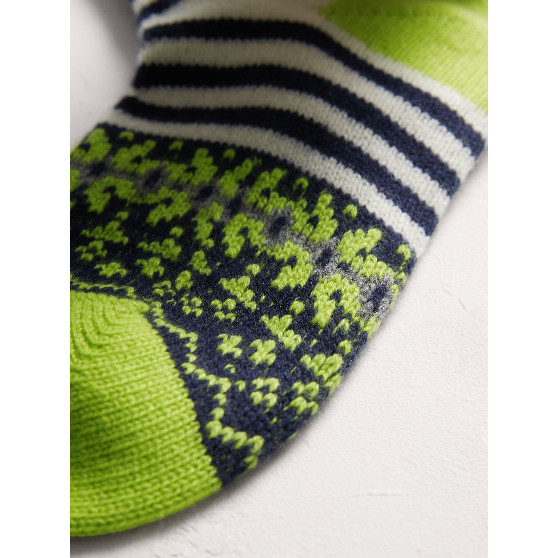 Fair Isle Cashmere Wool Patchwork Socks in Green | Burberry Australia - gallery image 1