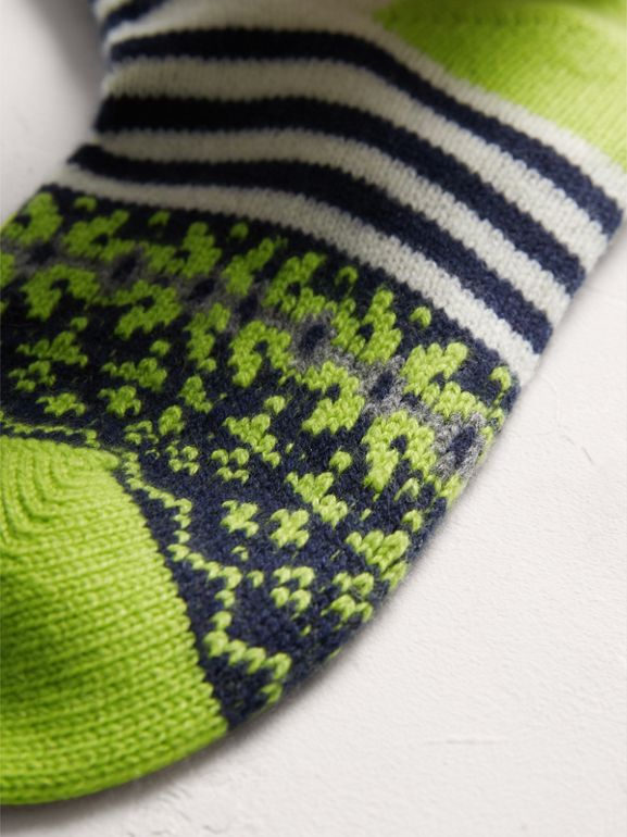 Fair Isle Cashmere Wool Patchwork Socks in Green | Burberry United Kingdom - cell image 1