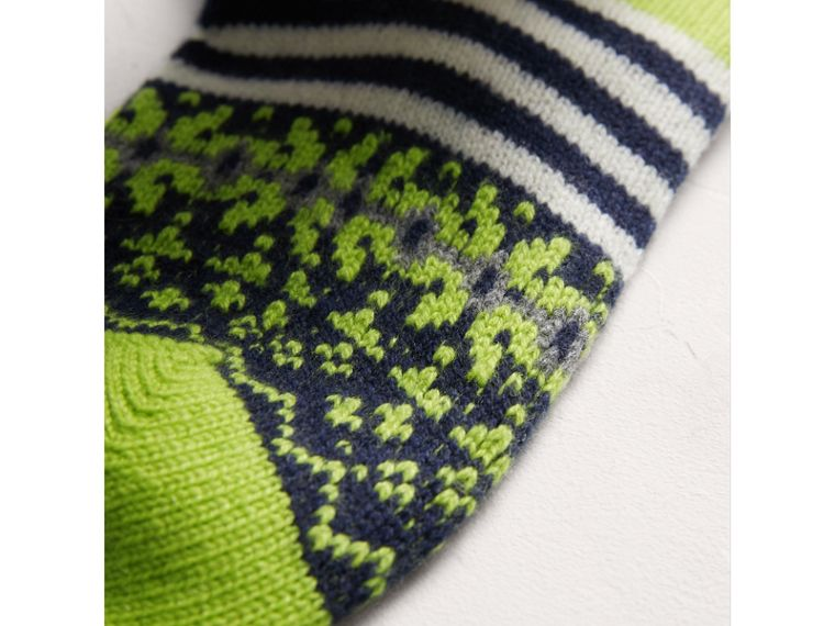 Fair Isle Cashmere Wool Patchwork Socks in Green | Burberry - cell image 1