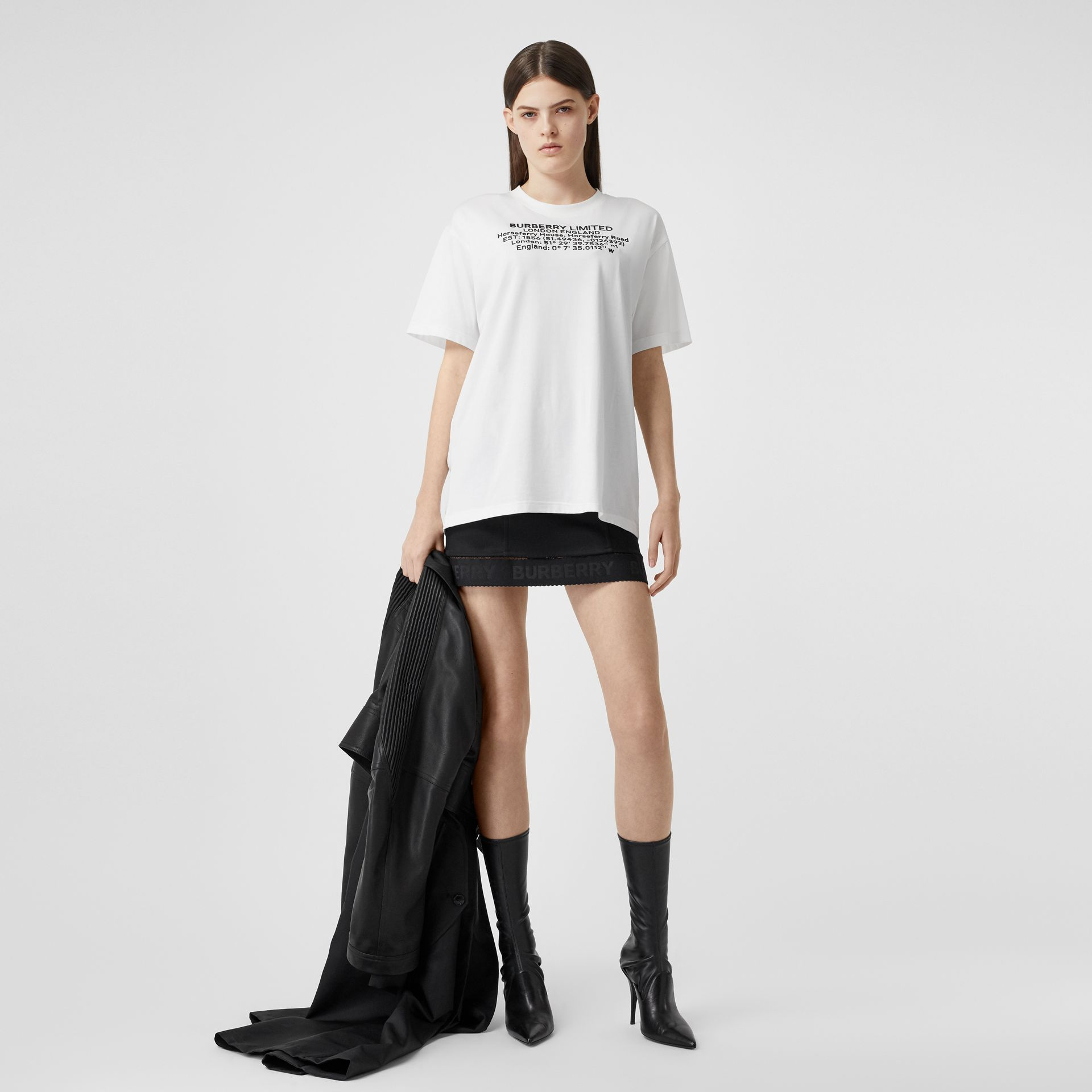 Location Print Cotton Oversized T-shirt in White - Women | Burberry - gallery image 0